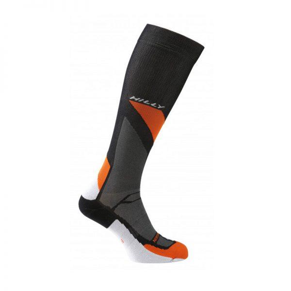 marathon_fresh_compression_sock_black_grey_orange_side1